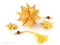 Kusudama Cynosura by Natalia Romanenko (ronatka) Tags: orange yellow star rectangle polaris modularorigami origamistar kusudama withbeads nataliaromanenko rectangle12