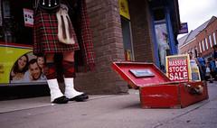 Little Scottish Feet (Trojan_Llama) Tags: street film feet 35mm kilt scottish olympus xa2 scot upskirt entertainer xa bagpipes bagpiper poundlandfilm