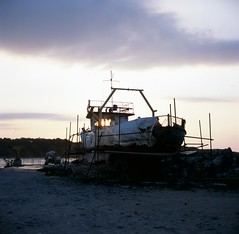 . (boal) Tags: travel light sunset 120 6x6 film rolleiflex mediumformat dark square ship slide bulgaria shipwreck provia moyenformat chernomorets epsonv700