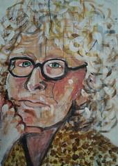Kate (Gila Mosaics n'stuff) Tags: portrait art female pencil watercolor glasses artist acrylic hand portraitparty jkpp inatlas