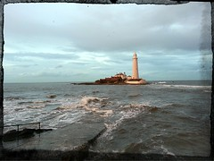 St Marys Lighthouse,  Whitley Bay. (Paul Simpson Photography) Tags: light lighthouse white cold building nature water danger seaside dangerous marine rocks waves image images safety northsea chilly tall shipping naval stmary northeast naturalworld causeway stmarys choppy photosof picturesof imageof inthesea photoof imagesof imagesfrom cawseway paulsimpsonphotography flickrandroidapp:filter=none pixlrexpress