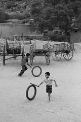 the wheel playing kids (dinesh maneer) Tags: india playing kids tires badami playingkids kidtire