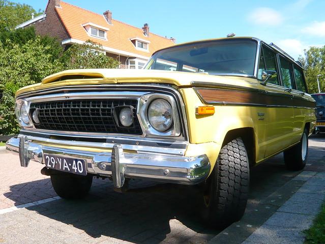 classic car yellow jeep 1976 wagoneer