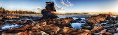 Avoca Headland Panoramic (Puresilk Images (AWAY)) Tags: ocean sea panorama sun seascape beach rock sunrise canon star coast surf stitch central sigma australia panoramic nsw f18 18 centralcoast blazer hdr multi sufer headland rockscape avoca 1835 70d starblazer flickrbronzetrophygroup eos70
