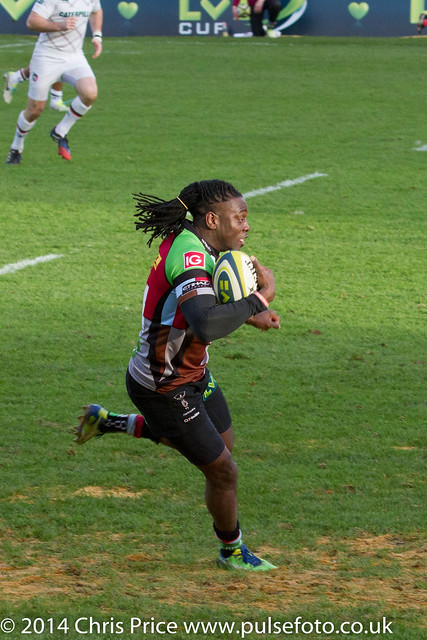Paul Sackey Try! - Quins 20 Leicester 6 LV Cup Pool 25th Jan 2014