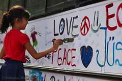 Paint my love... (Debmalya Mukherjee) Tags: bus art colors girl smile children fun kid paint drawing brush mumbai kalaghodaartsfestival southmumbai 2014 18135 canon550d debmalyamukherjee