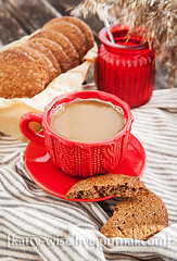 Coffee and cookies (Katty-S) Tags: morning red cup coffee cookies breakfast baking sweet chocolate sugar mug bake