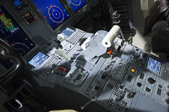 The Office: Left Seat (Gregory O'Shea) Tags: white black color window contrast computer switch corporate flying control aircraft seat aviation flight jet cockpit business 600 controls button left hud console pilot bombardier fmc headsupdisplay flightmanagementcomputer bombardierchallenger600