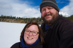 Kim & I at Johnson Lake (djking) Tags: woman canada man mountains me glasses frozen nationalpark kim alberta wife banff selfie johnsonlake