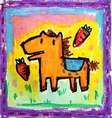 horse (miruku369) Tags: art illustration painting artwork crayon