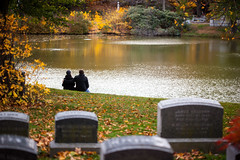 Live Life Before It's Over (Jeremy Brooks) Tags: people usa reflection love water cemetery boston pond headstone massachusets mountauburncemetery