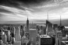 The Empire State Building and lower Manhattan (carlos_seo) Tags: bw newyork manhattan empirestatebuilding topoftherock 2013 fujifilmxe1