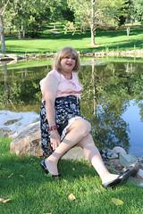 new105481-IMG_2743t (Misscherieamor) Tags: park tv pond sitting feminine cd tgirl transgender mature sissy tranny transvestite crossdress ts gurl tg travestis travesti travestie m2f xdresser tgurl slipshowing satinblouse