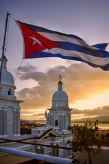 Santiago de Cuba Dusk (Artypixall) Tags: harbor dusk towers cuba getty santiagodecuba faa cubanflag cathedralofourladyoftheassumption