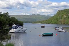 Loch Lomond (TonyKRO) Tags: trees sun lake reflection water clouds boats scotland bluesky loch lochlomond aldlochay
