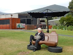 Back at MONA (mikecogh) Tags: hobart museumofmodernart seat car tyres tires mc publicart theme berriedale mona