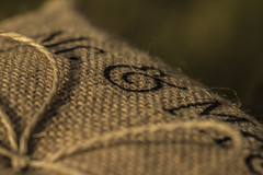 Macro Monday (Amy Victoria Brown) Tags: macro monday textile cloth canon hessian wedding cushion