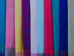 Colorful textile at Asian street market (phuong.sg@gmail.com) Tags: asia asian assortment bangkok bazaar bright business cashmere cloth clothing colorful colors concept consumerism couture design different drapery fabric fashion goods hanging industry manufacture many market multicolored palette range raw retail row sale samples scarves sell shawl shop store street style textile thai thailand trade vibrant
