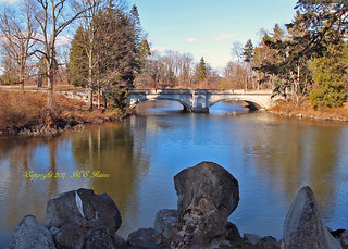 Historic Stone Bridge of Vista Lake from Waterfalls in Mid-March at Duke Farms of Hillsborough NJ