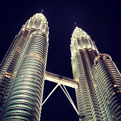 The twin towers in Kuala Lumpur... (Mathias Mikkelsen) Tags: travel bridge vacation building tower architecture lights high asia malaysia twintowers nightsky kualalumpur impressive uploaded:by=flickstagram instagram:photo=332512482816428791287561 instagram:venue_name=petronastwintowers instagram:venue=9889460