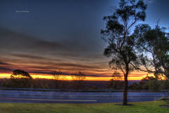 Sunset (loobyloo55) Tags: road blue trees sunset tree grass yellow gold golden sunsets australia newsouthwales lighttrails hdr