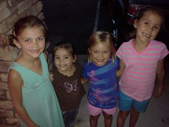 Brooklyn, Delaney, Alex and Madeleine outside a restaurant (Beauty Playin 'Eh) Tags: cameraphone sisters smilinggirls lgrevolution4glte