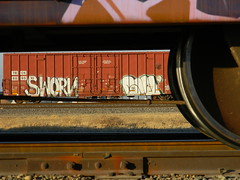 Down Under (KickPushPaint aka Sk8Hamburger) Tags: train painting graffiti paint tag spray spraypaint boxcar graff piece tagging boxcars civ freights ftl sworn