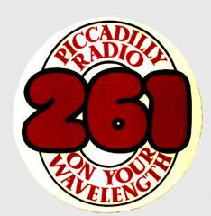 Piccadilly Radio car sticker 1973