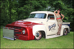 Allison Mindy Roth - 1954 Ford - Pierson Tribute (Mark Birkle) Tags: ohio red white hot ford beautiful up female start truck roth allison photo athletic cool image cincinnati picture fast 1954 special attractive hotrod push tribute mindy pick custom clermont pierson miamiville richcraft