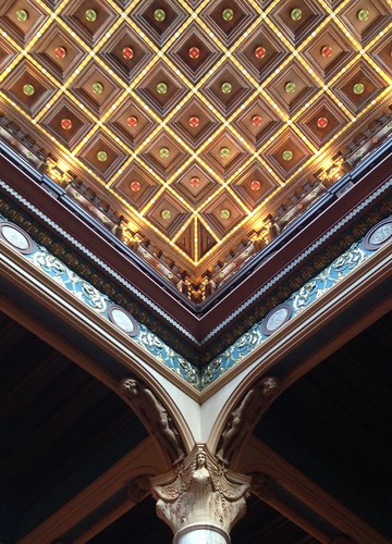 Details, details! (Another view looking up at the beautifully restored ceiling in the historic Julia Ideson Library in downtown Houston.)