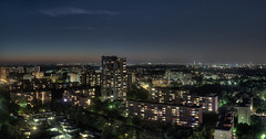 Berlin panorama at night (erikvonotto) Tags: city sky urban panorama house berlin rooftop skyline architecture night germany landscape lights nikon darkness cloudy lounge sigma wideangle ghetto dri hdr manfrotto dunkelheit 30mm d90 2013