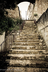 Stone stairway at Bourg, Bordeaux, France. (broadswordcallingdannyboy) Tags: france stairs bordeaux wideangle staircase stonewall canoneos frenchtown francais lightroom bourg 2470mm sudouest aquitaine gironde canoneos5d stonestaircase canonllens frenchlandscape convergingverticals frenchlandscapes leonreilly frenchscenes leonreillyphotography copyrightleonreillyphotography bordeauxrightbank bordeauxinautumn