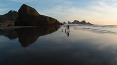 Running Reflection (fotostevia) Tags: oregoncoast pentaxk10d pentaxart kmzmczenitar1628fisheye
