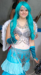 Chain mail lass with blue hair (Alaskan Dude) Tags: costumes people portraits texas festivals trf outfits texasrenaissancefestival renaissancefestivals renfairs 2013texasrenaissancefestival 2013trf