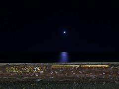 Do not cross the railway lines [moon] (Samuele Silva) Tags: sea moon lines station night train mare cross railway treno notte lightblue vietato