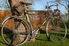 1950 Raleigh Lenton Sports (cycle.nut66) Tags: park leica winter green sports sunshine hub speed vintage four lumix cycling day steel shell gear sunny raleigh drop vale panasonic b17 summicron chrome harris archer aylesbury fm reg 1950 handlebars brooks alloy lenton carradice renolds sturmey lx3 531clubman