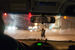 Its the five-oh! (ross.colgan) Tags: ontario canada car 35mm mirror driving bokeh candid fear police lindsay roadtrip panic raindrops passenger rearview windshield scared alpha f18 50 iso1600 fright popo 140 nex wideeyes nex6 sel35f18