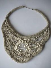 Crochet necklace with beads (natalie_kova) Tags: beads natural handmade linen crochet seed satin boho crochetnecklace crochetaccessories bohostyle linenaccessories bohoclassicstyle