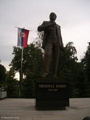 Milorad Pavi statue, Tamajdan park (pulikutya77) Tags: park statue serbia belgrade author beograd srbija tamajdan szerbia belgrd