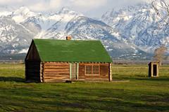 Mormon Row (bhophotos) Tags: travel usa snow mountains landscape geotagged spring cabin nikon logcabin valley wyoming tetons jacksonhole wy grandtetonnationalpark gtnp mormonrow grovont d700 70200mmf28gvrii