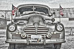WW II staff car HDR (Walt Barnes) Tags: street blackandwhite bw history car canon vintage eos blackwhite flag wwii streetscene patriotic richmond calif historic restored hdr topaz streetshoot staffcar 60d canoneos60d topazadjust eos60d