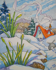 Winter's Goodbye Wave Storybook Cottage Series (cottagelover1953) Tags: flowers winter snow rabbit bunny illustration cottage storybook bungalow whimsical buttercups redroof vintagecottage originalwatercolor