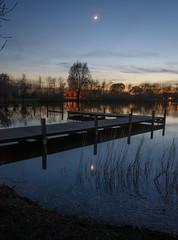 Moonshine (stevefge) Tags: avond ewijk voordingstraat water night reflectyourworld reflections moon dark pier jetty gelderland nederland netherlands nl nature natuur nederlandvandaag blue