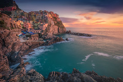 Pictoresque Manarola (albert dros) Tags: travel village cityscape sunrise sunset cinqueterre water albertdros mountains italy seascape manarola tourism town pastel