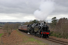 41312 + 43106 - Bewdley tunnel (Andrew Edkins) Tags: 41312 43106 lms ivatt bewdley bewdleytunnel foleypark severnvalleyrailway preservedrailway singletrack doubleheader landscape overcast canon railwayphotography steamtrain worcestershire england uksteam geotagged march steamgala trees spring uk