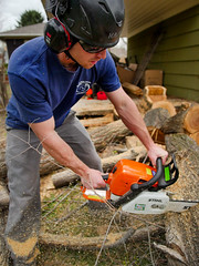 001ElmTreeVitality (Symic) Tags: tree vitality treevitality nicko nick lund chain saw chainsaw cut wood work land landscape helmet safety navy blue dust sawdust boots man manly pile log logs elm spring trim remove new sharp fresh stihl farm boss orange glass sun sunglasses green grass job worksite entrepreneur self employed