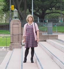 An Experiment (justplainrachel) Tags: justplainrachel rachel cd tv crossdresser transvestite plaid school tunic dress pink cardigan selfie selfportrait tights pantyhose boots tgirl uniform