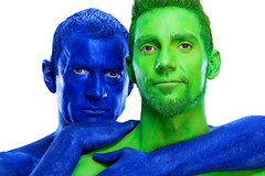 Body painters Sydney Australia (humanstatuebodyart) Tags: blue green body sydney australia nsw painters oppositesattract bodypainter