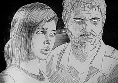 The Last of Us (Letham Burn) Tags: white black art illustration last portraits us drawing joel ellie videogame playstation ps3