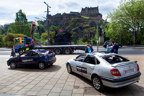 Crushed cars on display in Edinburgh for the Jurassic Park 3D IMAX special screening
